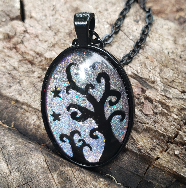 Iridescent Tree Pendant