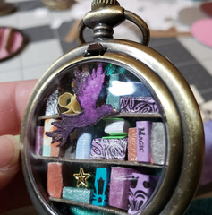 Pocket Watch Library with Purple Bird