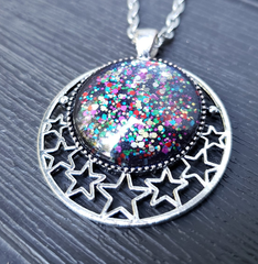 Midnight Glitter Starry Crescent Pendant