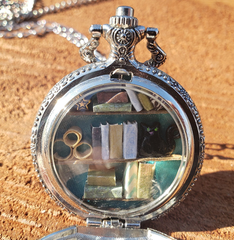Silver Pocket Watch Library with Green-Eyed Black Cat