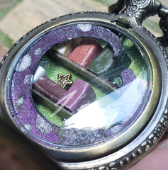 Pocket Watch Library with Purple Dragon, Antique Gold