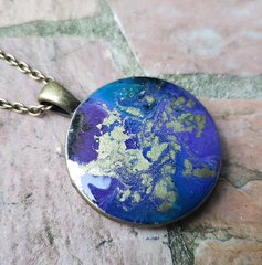 Resin Pendant: Purple & Gold