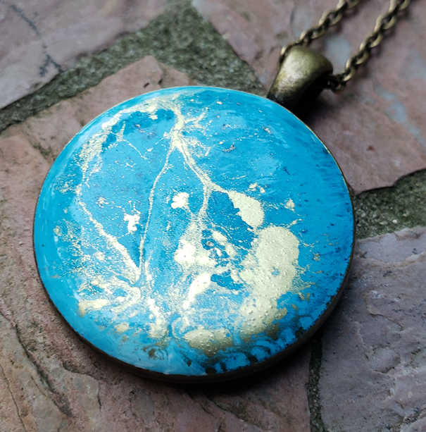 Resin Pendant: Turquoise & Gold
