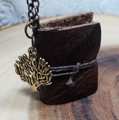 Brown Tree Book Necklace