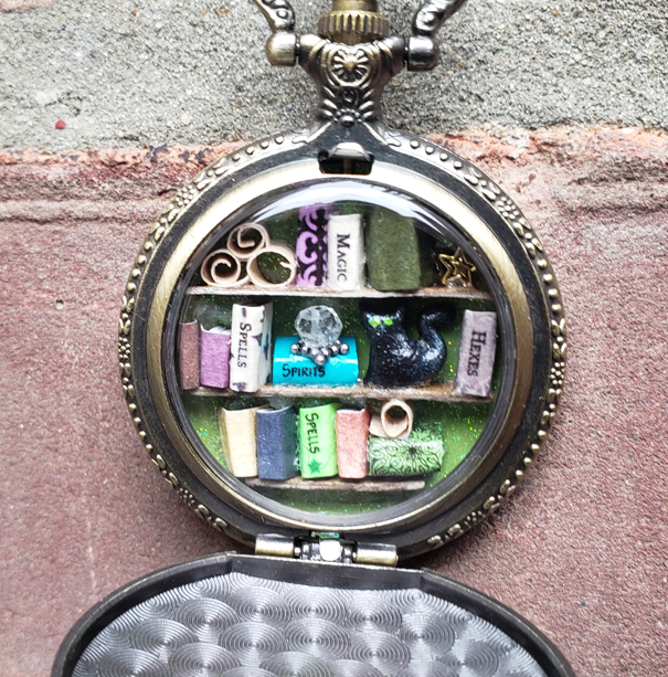 Pocket Watch Library with Black Cat, Antique Gold