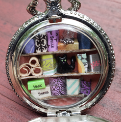 Pocket Watch Library with Black Cat, Silver