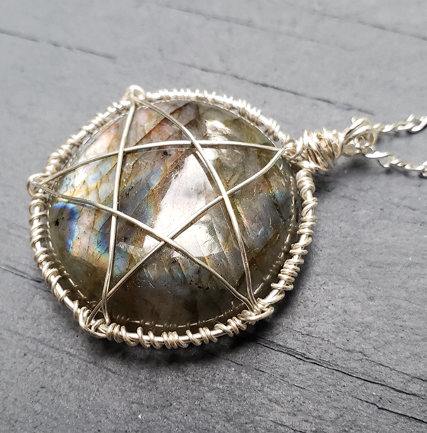 Labradorite Pentacle Wire Wrapped Pendant