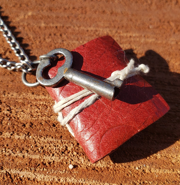 Red Book Necklace with Key
