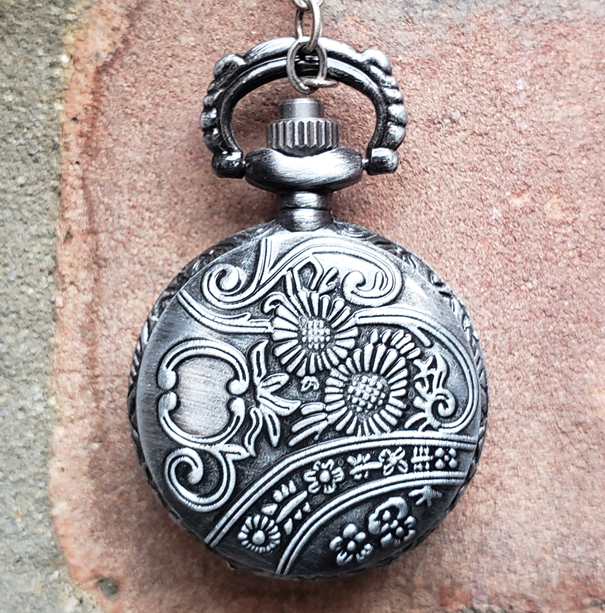 Mini Pocket Watch Library, Antique Silver