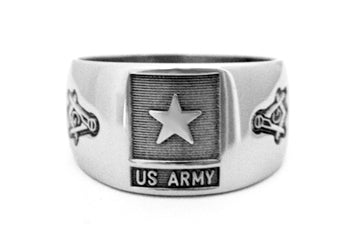 US Army Ring w/ Masonic Emblems - Stainless Ring Crafters