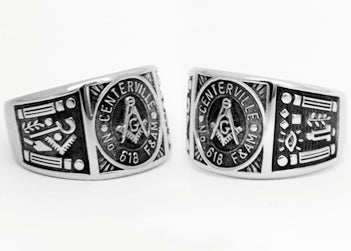 Centerville Lodge 618 - Custom Lodge Ring - Stainless Ring Crafters