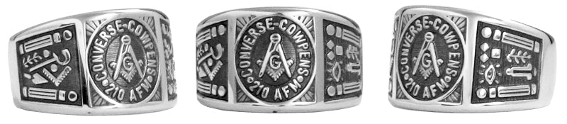 Converse-Cowpens 210 - Custom Lodge Ring - Stainless Ring Crafters