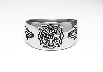 Fire Department Ring w/ Masonic - Stainless Ring Crafters