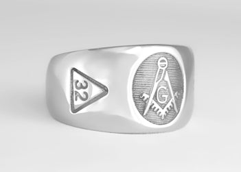 Masonic Emblem Ring with Scottish Rite - Stainless Ring Crafters