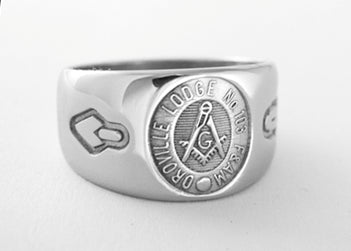 Oroville Lodge 103 - Custom Masonic Ring - Stainless Ring Crafters