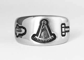 Past Master Emblem Ring with Working Tools - Stainless Ring Crafters
