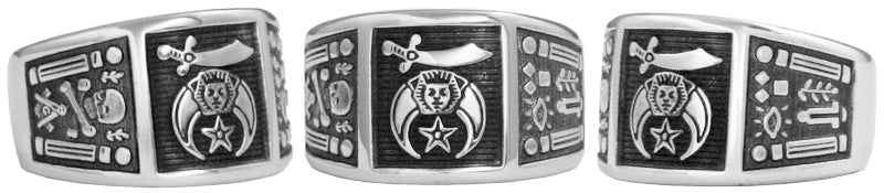 Shriner Emblem Ring w/ Working Tools - Stainless Ring Crafters