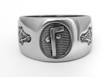Two Ball Cane Ring w/ Masonic - Stainless Ring Crafters