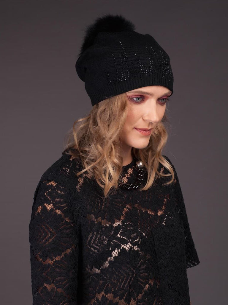 Cashmere Hat With Natural Fox Fur Pom Pom - Black