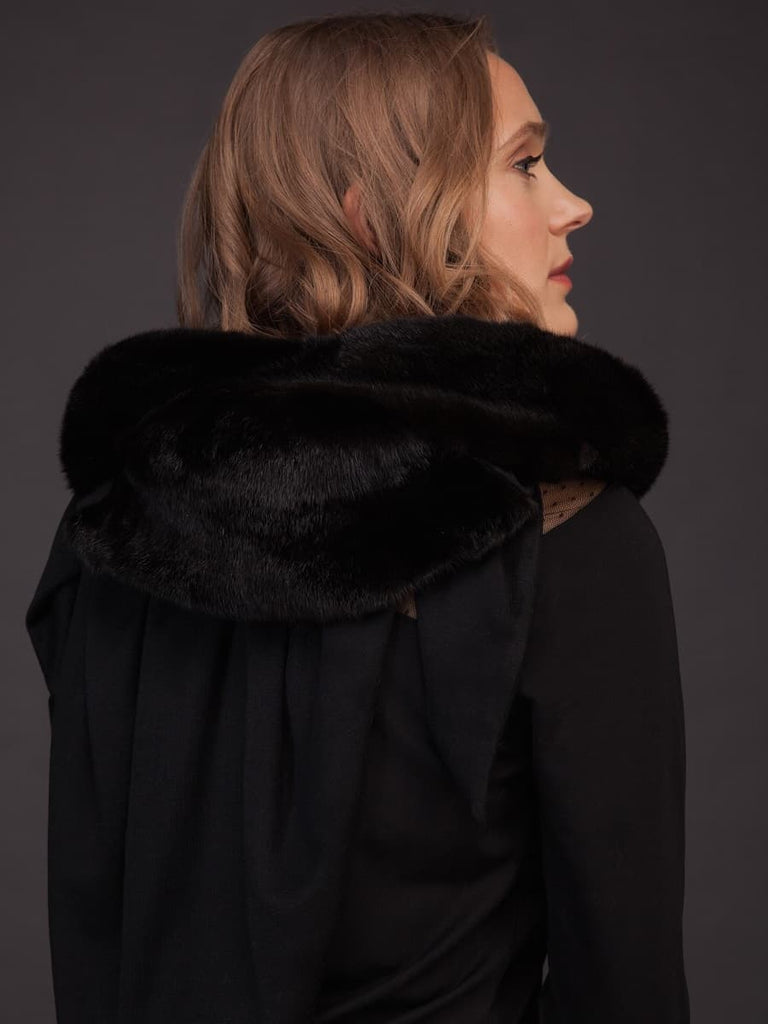 Black Mink Fur & Cashmere Shawl – Hooded Scarf