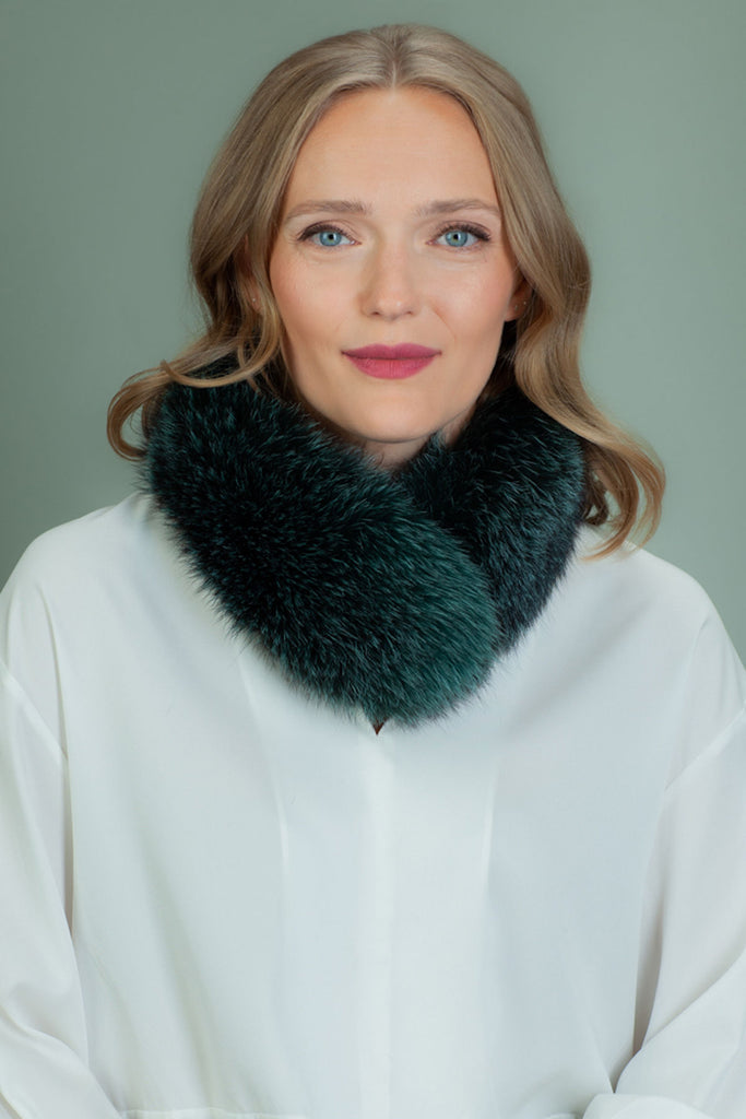 Dark Green Fox Fur Scarf / Small Collar