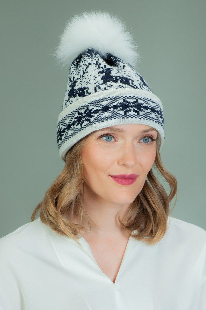 Wool Hat with Fur Pom-Pom in Santa Deer Pattern - Dark Blue