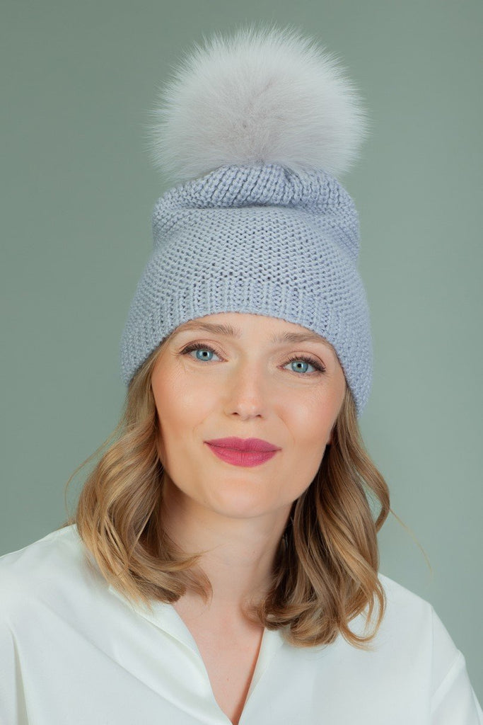 Hand Knit Merino Wool Hat With Fox Fur Pom-Pom - Light Purple
