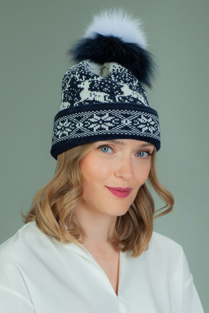 Knit Wool Hat with Fur Pom-Pom in White Santa Deer Pattern