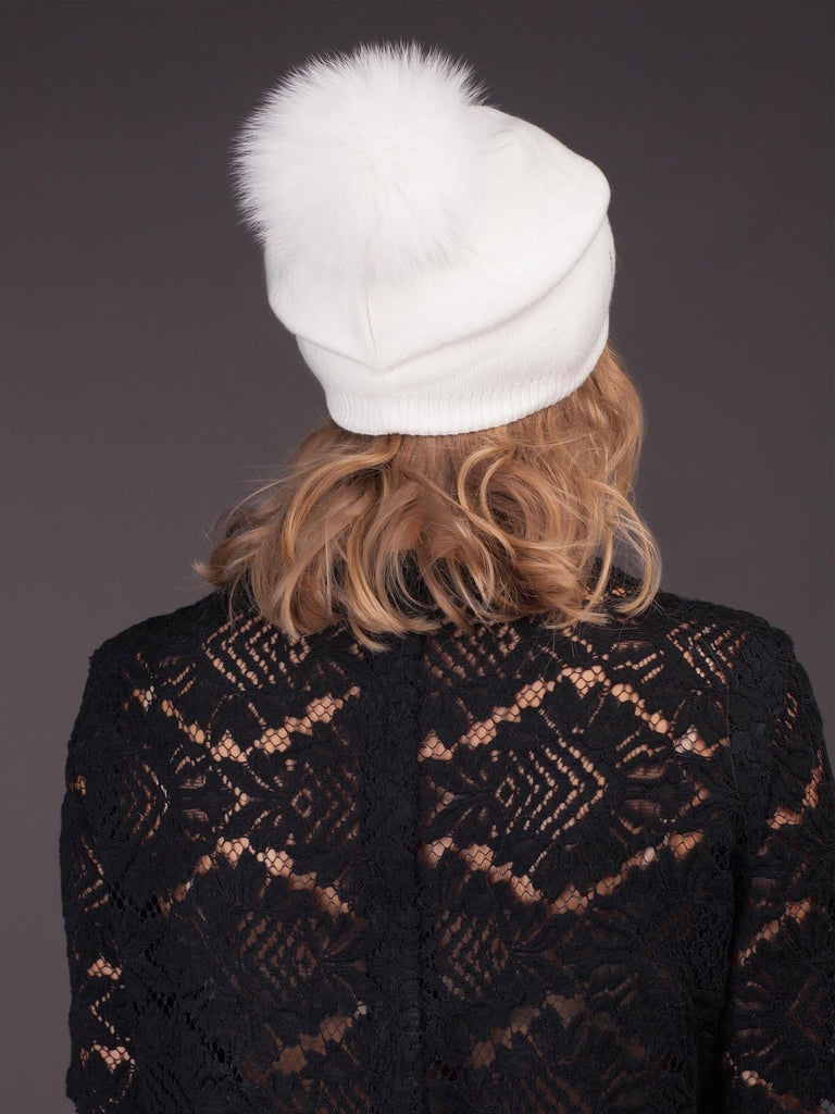 Cashmere Hat With Natural Fox Fur Pom Pom - White