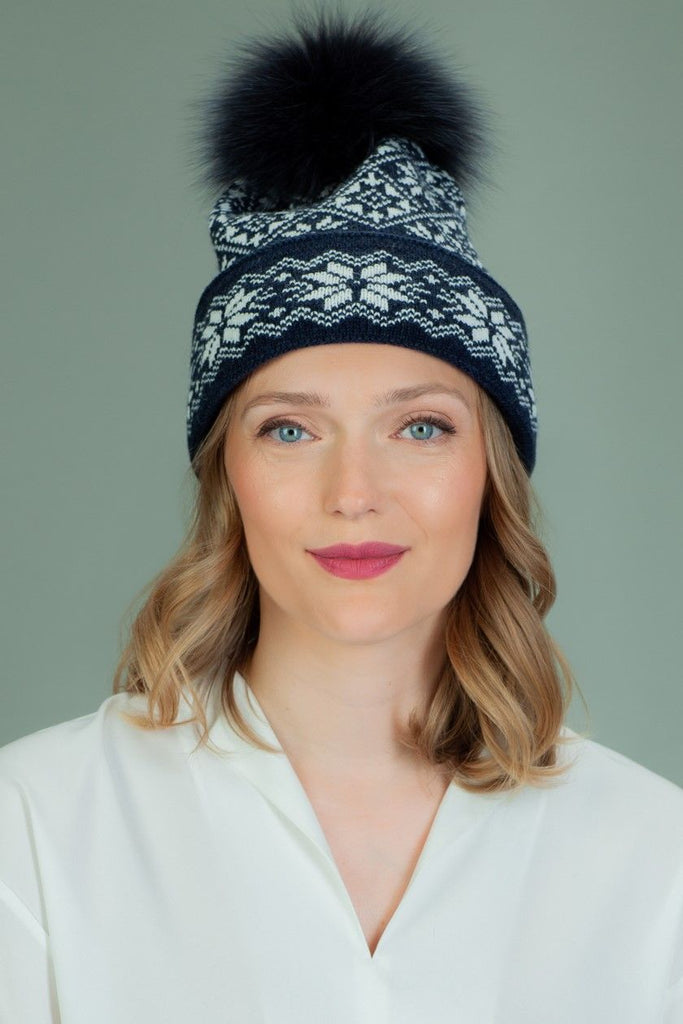 Knit Wool Hat with Fur Pom-Pom in White Star Pattern
