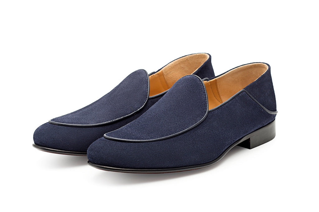 AVIMA LEATHER SHOES WILLIAM - Blue Suede
