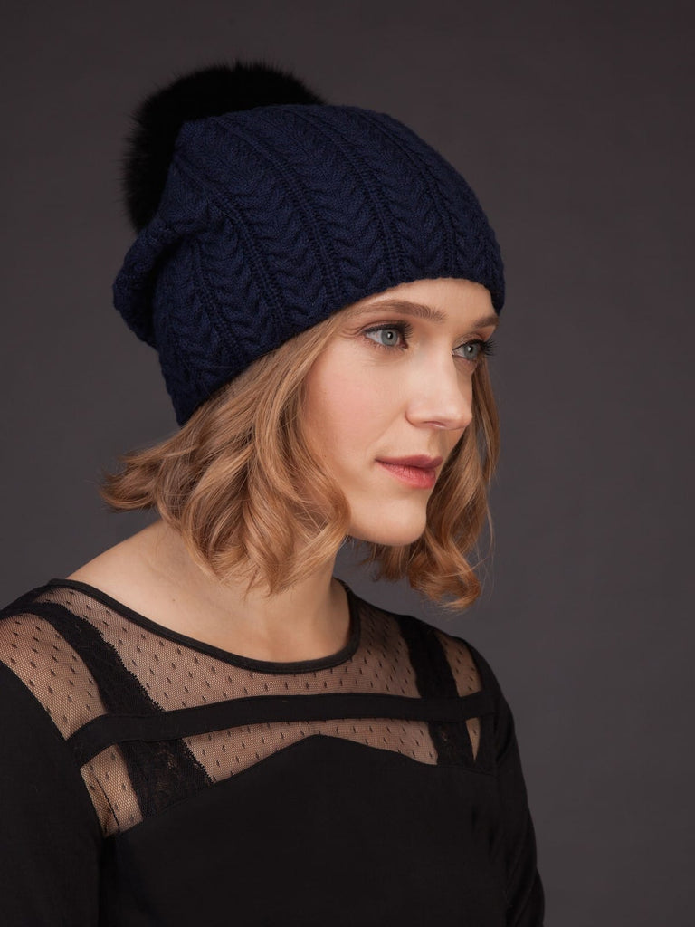 Women's Cashmere Beanie Hat, Warm and Super Soft with Fox Fur Pom Pom