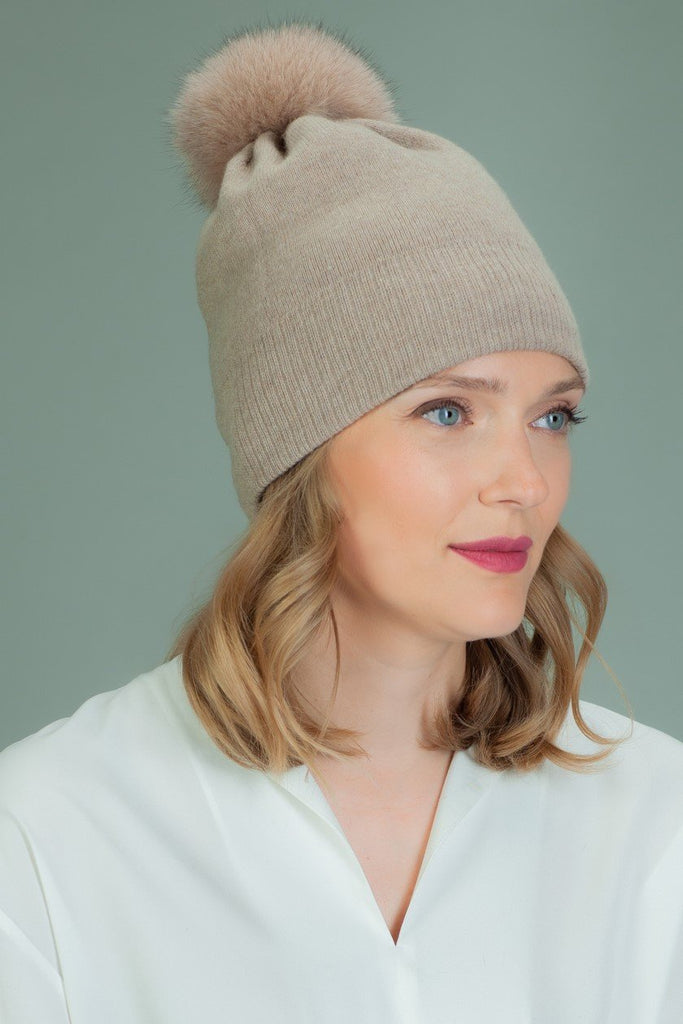 Knit Slouchy Beige Cashmere & Merino Wool Hat with Fox Fur Pom-Pom