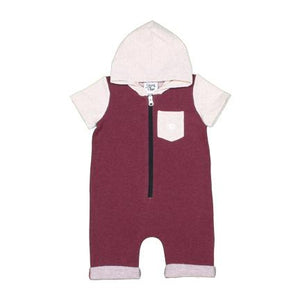 Zipper Short Romper Burgundy