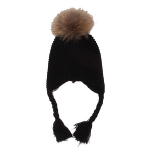 Stretchy Black Knit Winter Hat with Earflap