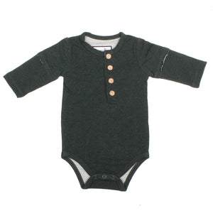 Henley Bodysuit- Forest Green