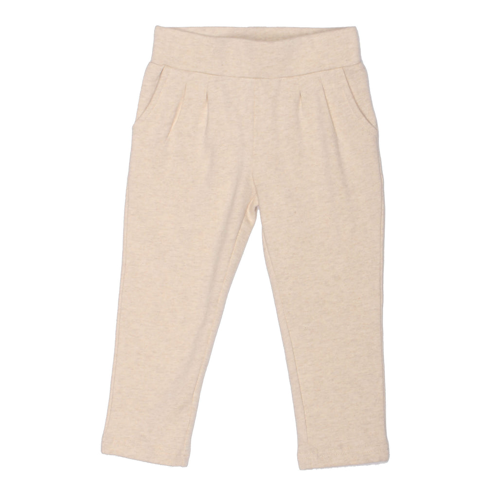 Soft, Cotton Baby and Toddler Girl Leggings - Ecru
