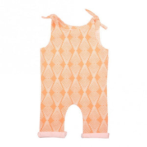 Apricot Tie Girls Romper for Babies and Toddlers