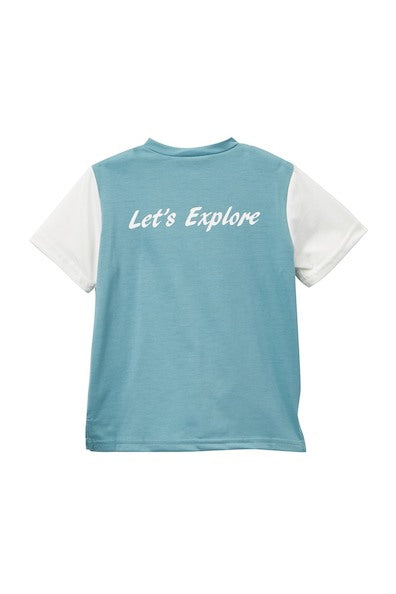"Boys Tee ""Let's Explore"" Blue"