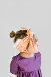 Extra Warmth Head Wrap Orange Pattern with White Fur