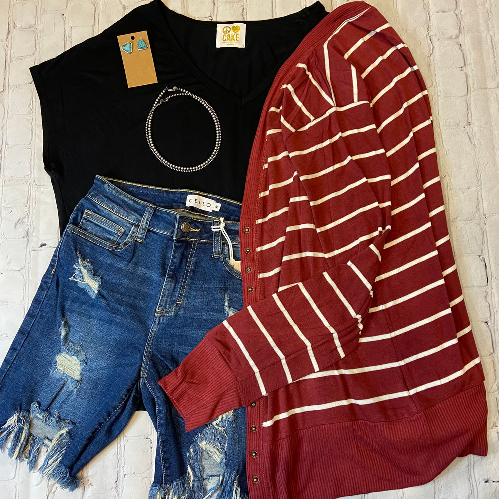 Maroon & White Striped Snap Cardigan