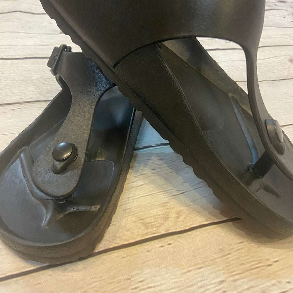 Black Corky Jet Rubber Slide Sandals