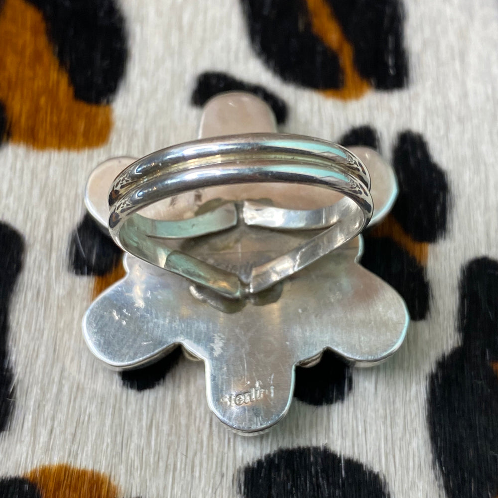 Genuine Turquoise Flower Sterling ring Size 10 - Country Lace Boutique