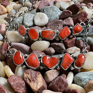 5 Stone Genuine Red Coral sterling Silver Necklace
