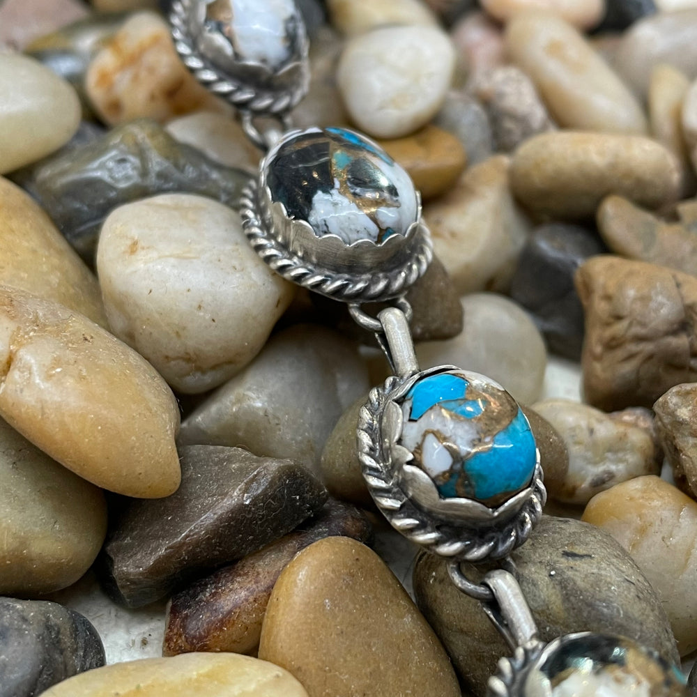 Turquoise, White Buffalo, & Matrix 5 Stone Long Genuine Sterling Silver Necklace