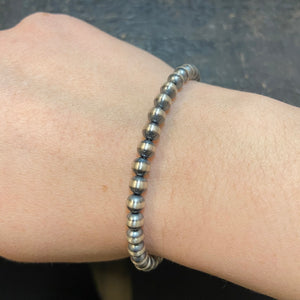 Load image into Gallery viewer, 5mm Genuine Sterling Silver Navajo Pearl Toggle bracelet
