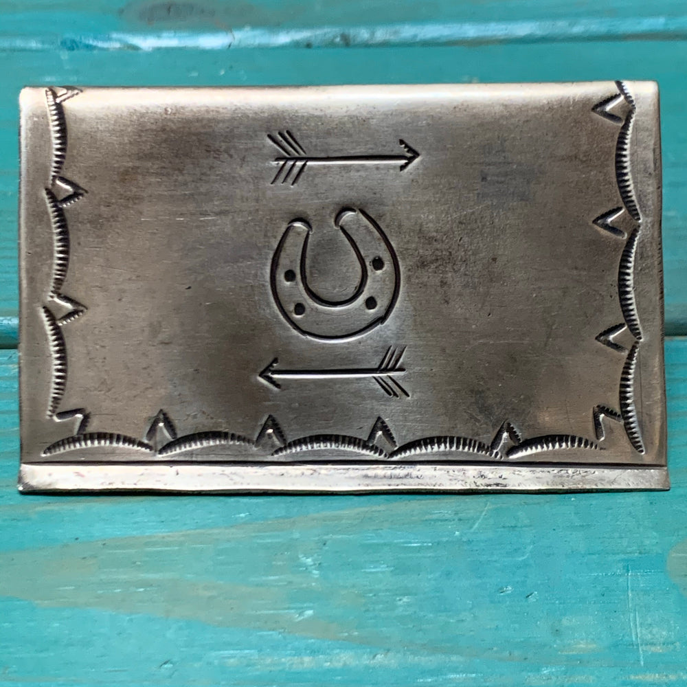 Stamped Business Card Holder with Turquoise