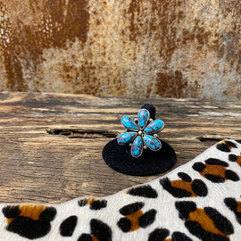 Genuine Turquoise Flower Sterling ring Size 10