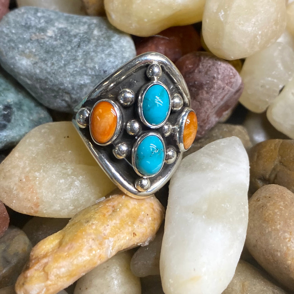 Turquoise and Genuine Orange Spiny Oyster 4 stone ring