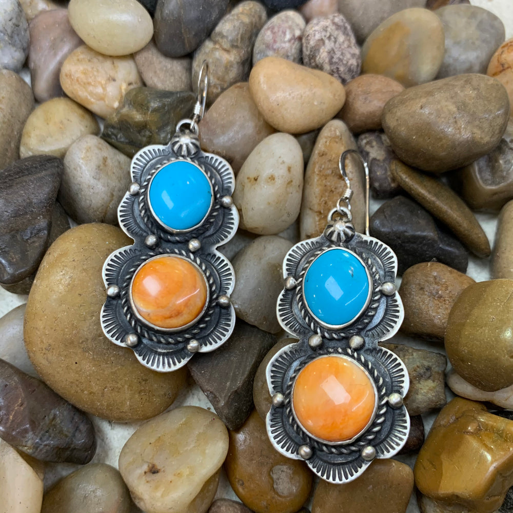 Genuine Turquoise & Spiny Oyster Design Earrings